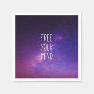 """Free Your Mind"" Quote Blue Purple Sky Space Stars Paper Napkin"