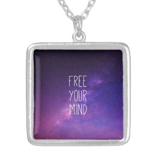 """Free Your Mind"" Quote Purple Blue Sky Stars Silver Plated Necklace"