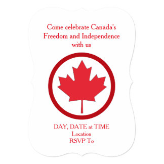 Freedom And Independence Canada Day Party Invite
