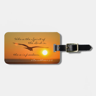 Freedom Bible Verse, Bird Flying at Sunset Custom Luggage Tag