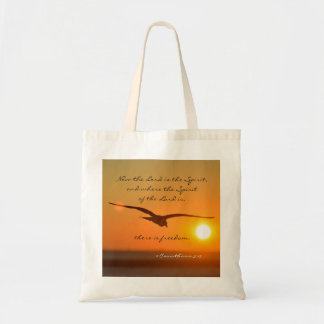 Freedom Bible Verse, Bird Flying at Sunset Tote Bag