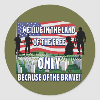 FREEDOM COSTS!  WE LIVE FREE BECAUSE OF SOLDIERS ROUND STICKER