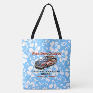 Freedom Crusin' Hawaiian Woody Hibiscus Beach Bag