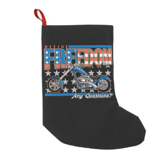 Freedom Cycle American Flag Paint Motorcycle Small Christmas Stocking