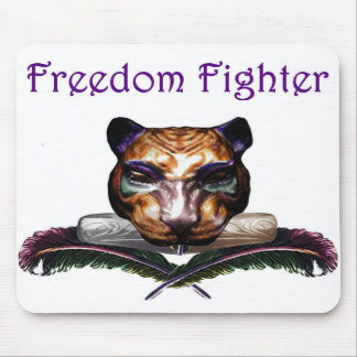 Freedom fighter- feline wild cat mouse pads