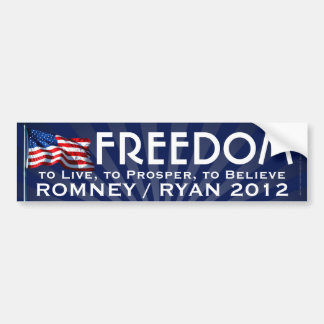 Freedom Flag, Romney/Ryan 2012 Bumper Sticker
