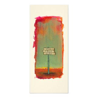 "Freedom free thinker sign painting original art 4"" x 9.25"" invitation card"