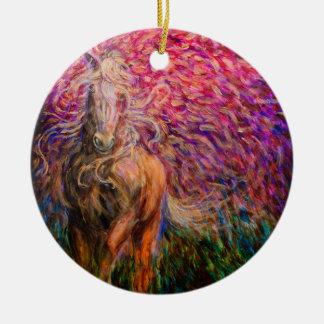 Freedom Horse Pink Pendant Ceramic Ornament