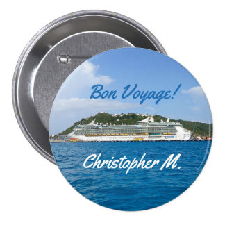 Freedom in St. Martin Personalized Bon Voyage 3 Inch Round Button