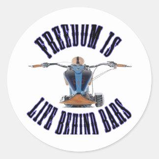 Freedom Is Life Behind Bars Round Sticker