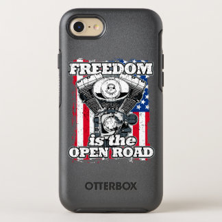 Freedom Is The Open Road American Flag Bikers OtterBox Symmetry iPhone 8/7 Case