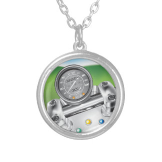 Freedom Mine Motorcycle Dash Silver Plated Necklace