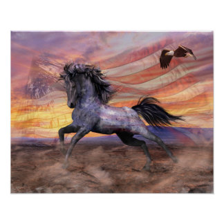 """Freedom Mustang 20""""x16"""" Value, Matte - see options Poster"""