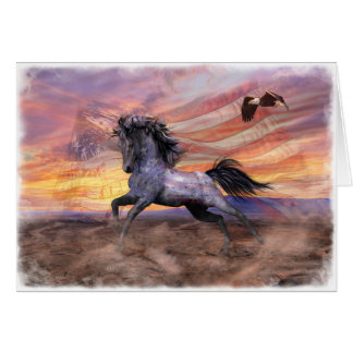"""Freedom Mustang 5""""x7"""" Card, wht envelopes incl Card"""