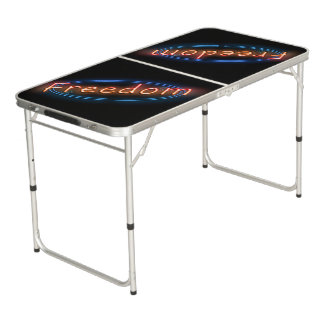 Freedom neon sign. beer pong table