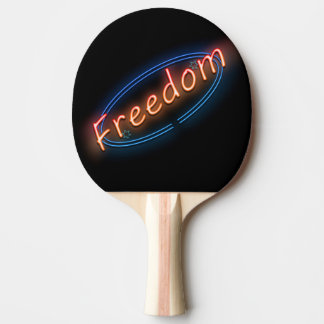 Freedom neon sign. ping pong paddle