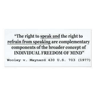 "Freedom of Speech Wooley v Maynard 430 US 703 1977 4"" X 9.25"" Invitation Card"
