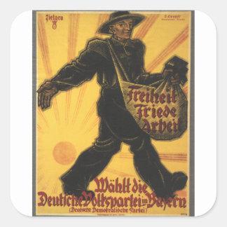 Freedom Propaganda Poster Square Sticker