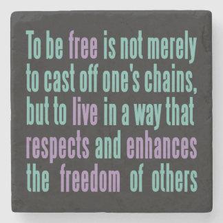 Freedom Quote stone coasters