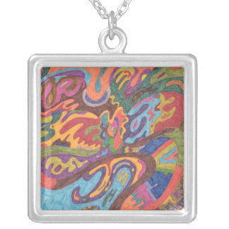 Freedom to Fly, original abstract Silver Plated Necklace