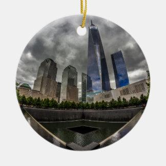 Freedom Tower Round Ceramic Ornament