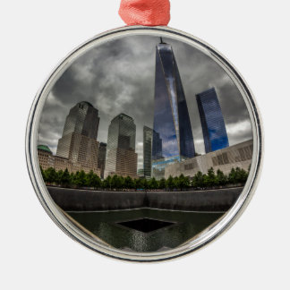 Freedom Tower Silver-Colored Round Ornament