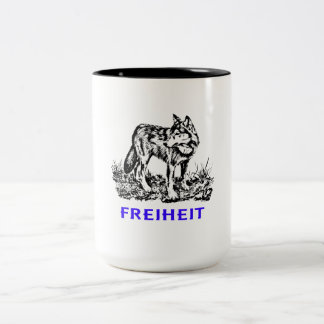 Freedom - wolf in wilderness Two-Tone coffee mug