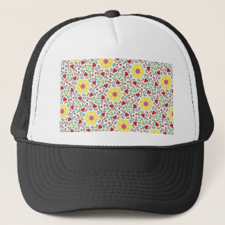 Freehand flowers and hearts trucker hat