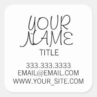 Freehand Simple Plain Square Sticker