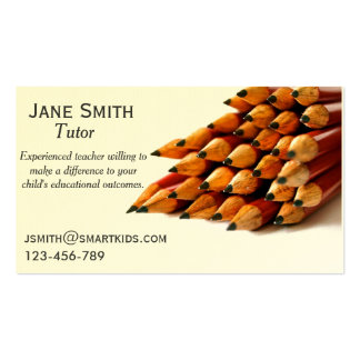 Freelance tutor or teacher stylish pencil Double-Sided standard business cards (Pack of 100)