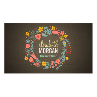 Freelance Writer - Burlap Floral Wreath Pack Of Standard Business Cards