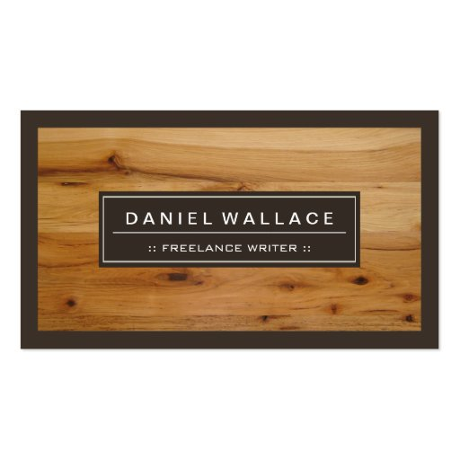 Freelance Writer - Classy Wood Grain Look Business Card Template