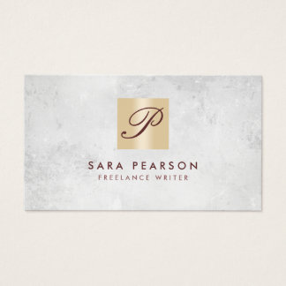 Freelance Writer Elegant GoldMonogram BusinessCard Business Card