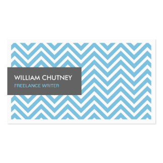 Freelance Writer - Light Blue Chevron Zigzag Pack Of Standard Business Cards
