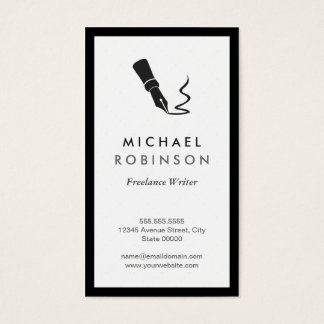 Freelance Writer Pen Logo - Retro Black and White Business Card
