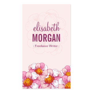 Freelance Writer - Pink Boutique Flowers Pack Of Standard Business Cards