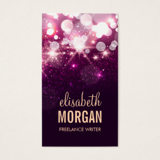 Freelance Writer - Pink Glitter Sparkles Business Card