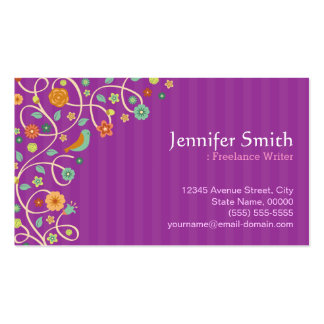 Freelance Writer - Purple Nature Theme Pack Of Standard Business Cards