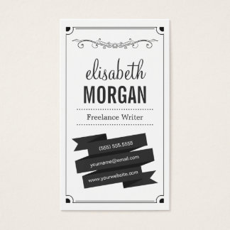 Freelance Writer - Retro Black and White Business Card
