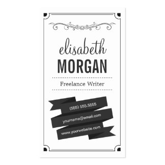 Freelance Writer - Retro Black and White Pack Of Standard Business Cards