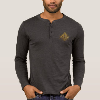 Freemason Golden Symbol  Henley Long Sleeve Shirt