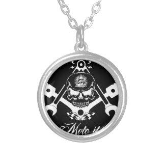 Freemason-Widows-Sons-Masonic-Hotrod-Logo-20160407 Silver Plated Necklace