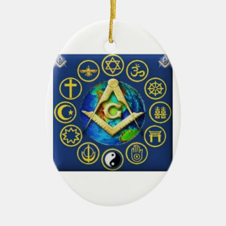 Freemasonry All Religions Ceramic Oval Ornament