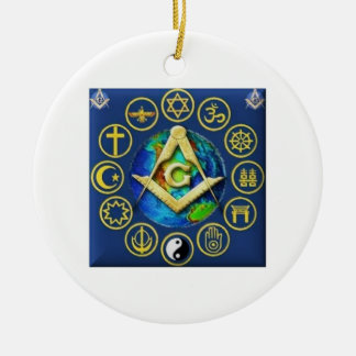 Freemasonry All Religions Round Ceramic Ornament