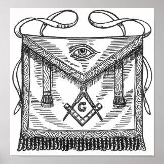 Freemasonry Blue Lodge Apron Poster