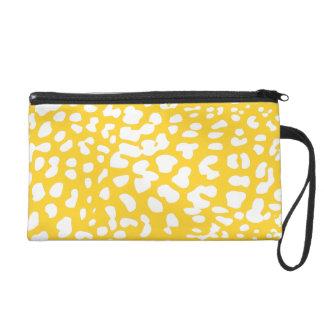 Freesia and White Leopard Print Wristlet Bag