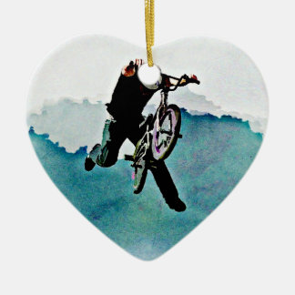 Freestyle BMX Bicycle Stunt Ceramic Heart Ornament