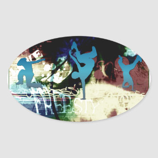 Freestyle Break Dance Graffiti Oval Sticker