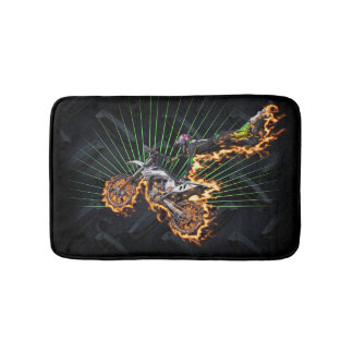 Freestyle motocross flying high on fire bath mat