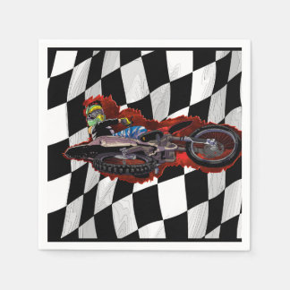 Freestyle motocross rider flying high paper napkins